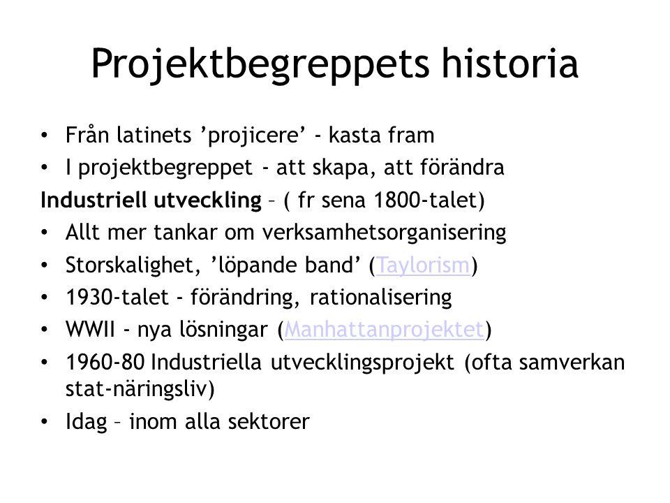 Projektbegreppets historia • Från latinets 'projicere' - kasta fram • I projektbegreppet - att skapa, att förändra Industriell utveckling – ( fr sena
