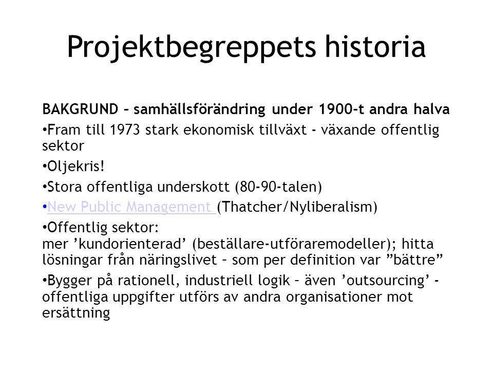 Projektbegreppets historia BAKGRUND – samhällsförändring under 1900-t andra halva • Fram till 1973 stark ekonomisk tillväxt - växande offentlig sektor