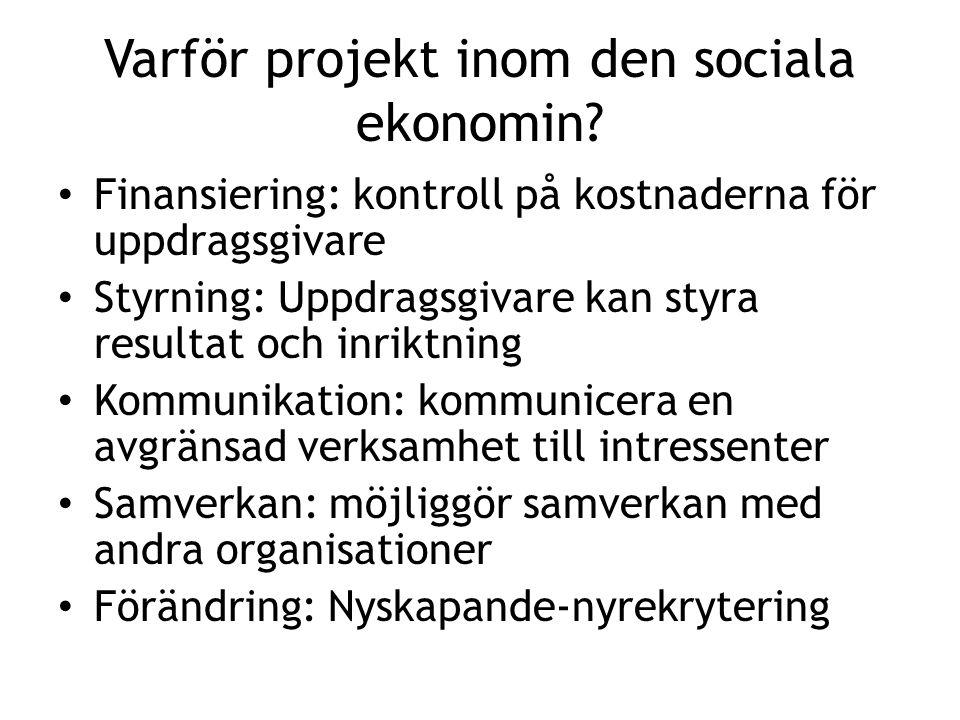 Varför projekt inom den sociala ekonomin? • Finansiering: kontroll på kostnaderna för uppdragsgivare • Styrning: Uppdragsgivare kan styra resultat och