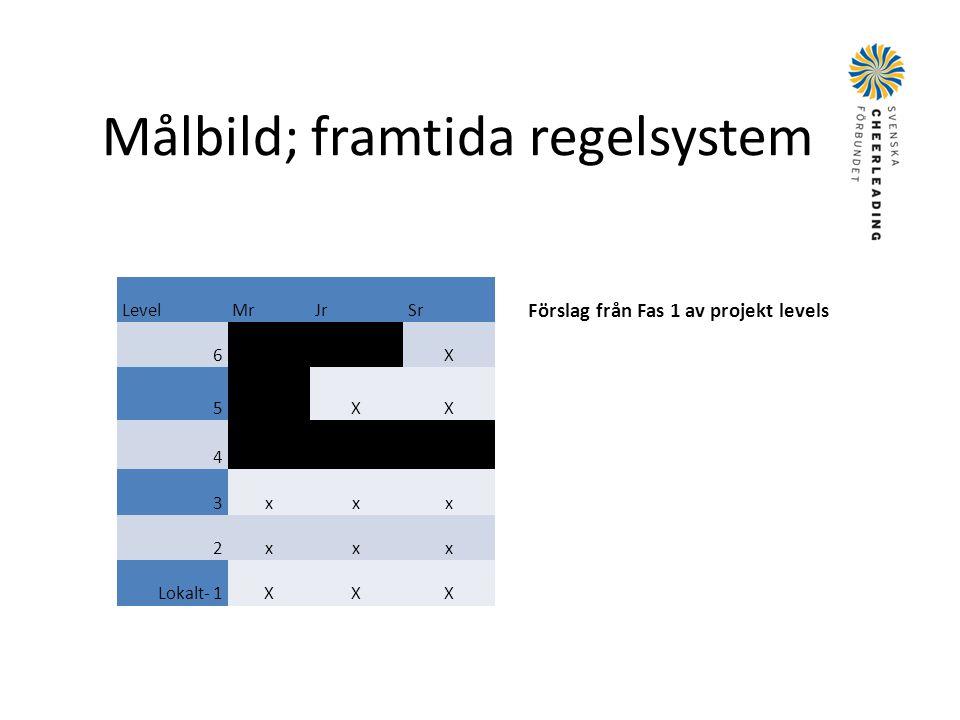 Målbild; framtida regelsystem LevelMrJrSr 6 X 5 XX 4 3xxx 2xxx Lokalt- 1XXX Förslag från Fas 1 av projekt levels