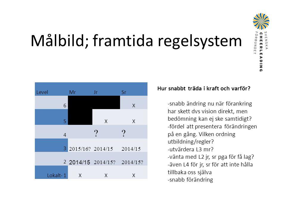 Målbild; framtida regelsystem LevelMrJrSr 6 X 5 XX 4 ?? 3 2015/16?2014/15 2 2014/15? Lokalt- 1XXX Hur snabbt träda i kraft och varför? -snabb ändring
