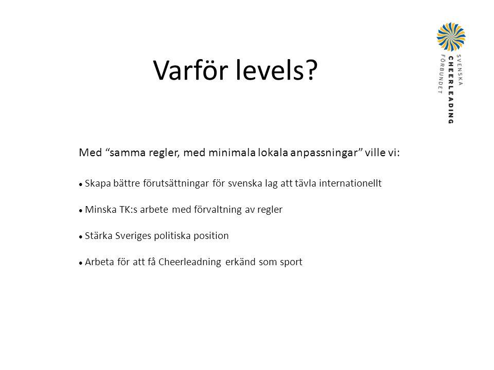 """Varför levels? Med """"samma regler, med minimala lokala anpassningar"""" ville vi:  Skapa bättre förutsättningar för svenska lag att tävla internationellt"""