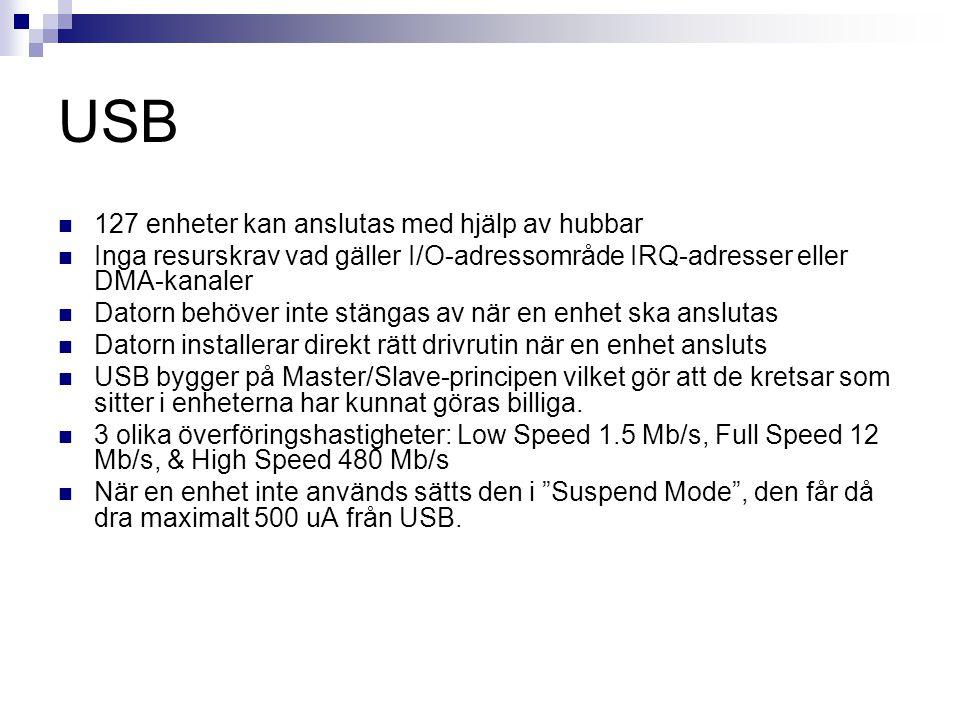 USB  127 enheter kan anslutas med hjälp av hubbar  Inga resurskrav vad gäller I/O-adressområde IRQ-adresser eller DMA-kanaler  Datorn behöver inte