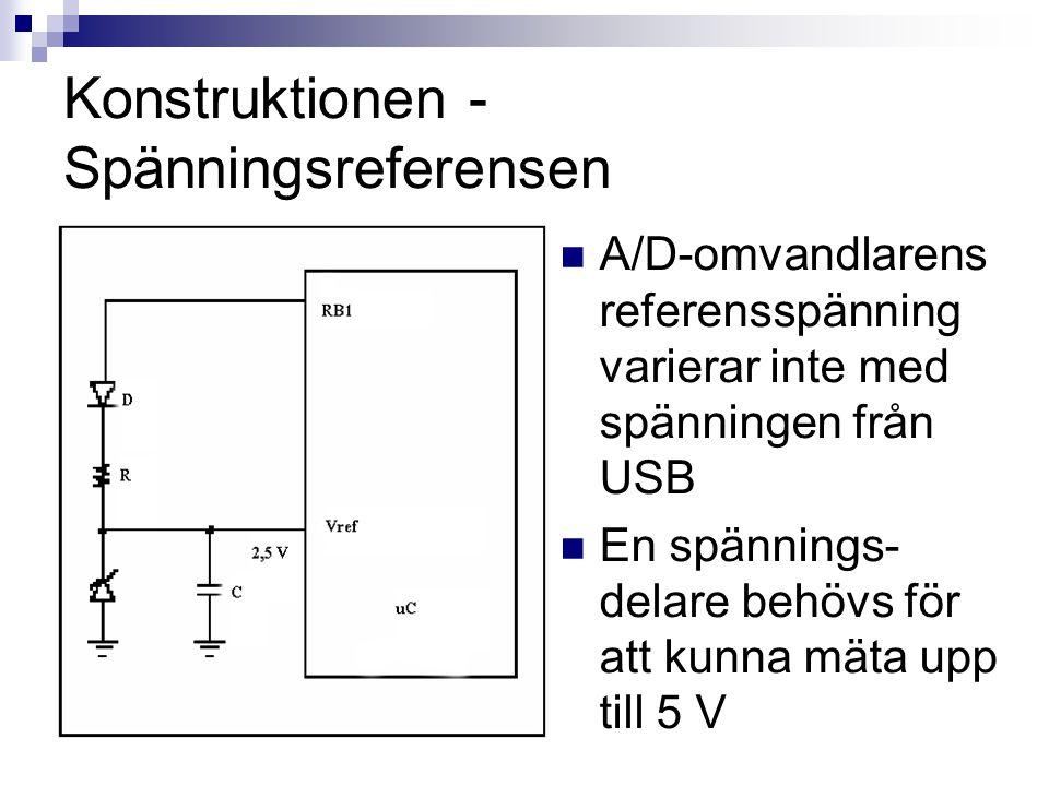 Konstruktionen - Spänningsreferensen  A/D-omvandlarens referensspänning varierar inte med spänningen från USB  En spännings- delare behövs för att k