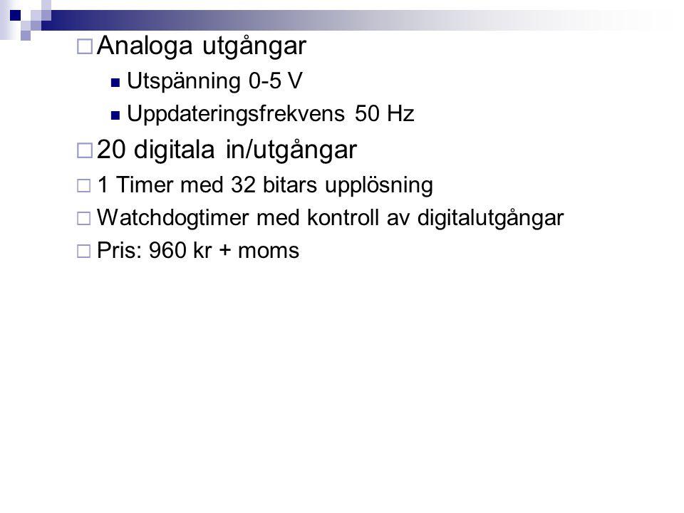  Analoga utgångar  Utspänning 0-5 V  Uppdateringsfrekvens 50 Hz  20 digitala in/utgångar  1 Timer med 32 bitars upplösning  Watchdogtimer med kontroll av digitalutgångar  Pris: 960 kr + moms