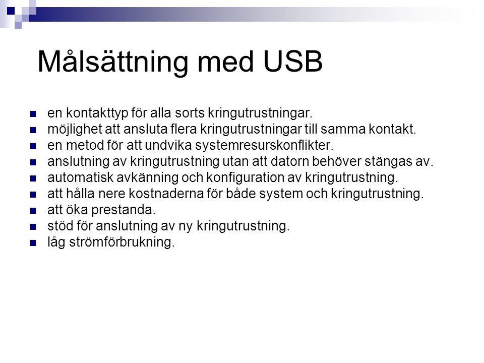 USB  127 enheter kan anslutas med hjälp av hubbar  Inga resurskrav vad gäller I/O-adressområde IRQ-adresser eller DMA-kanaler  Datorn behöver inte stängas av när en enhet ska anslutas  Datorn installerar direkt rätt drivrutin när en enhet ansluts  USB bygger på Master/Slave-principen vilket gör att de kretsar som sitter i enheterna har kunnat göras billiga.
