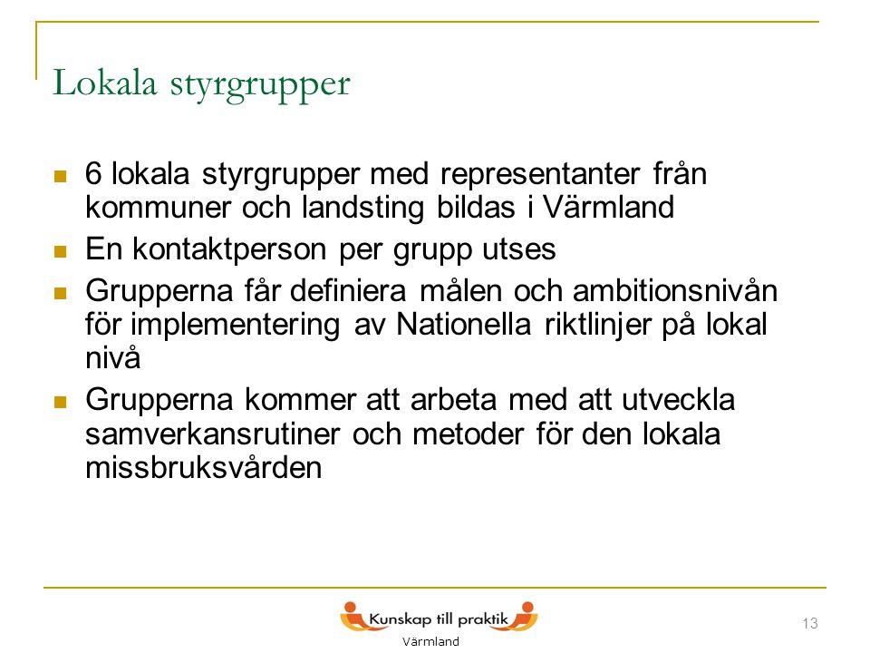 Lokala styrgrupper  6 lokala styrgrupper med representanter från kommuner och landsting bildas i Värmland  En kontaktperson per grupp utses  Gruppe