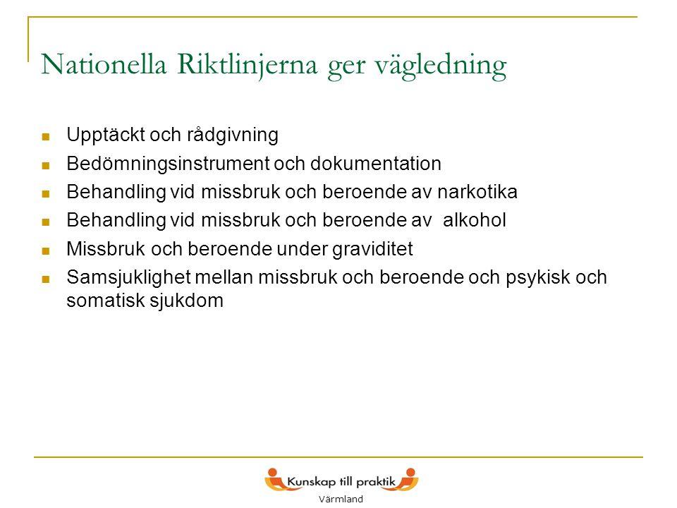Lokala styrgrupper  6 lokala styrgrupper med representanter från kommuner och landsting bildas i Värmland  En kontaktperson per grupp utses  Grupperna får definiera målen och ambitionsnivån för implementering av Nationella riktlinjer på lokal nivå  Grupperna kommer att arbeta med att utveckla samverkansrutiner och metoder för den lokala missbruksvården 13 Värmland