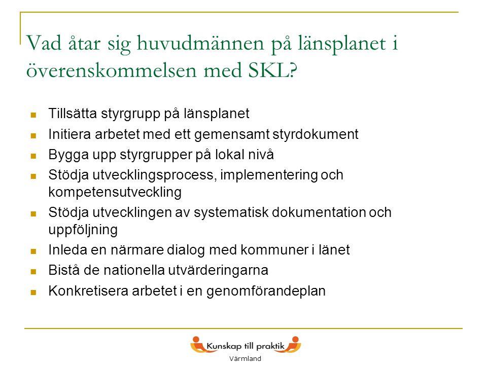 6 Vad åtar sig huvudmännen på länsplanet i överenskommelsen med SKL?  Tillsätta styrgrupp på länsplanet  Initiera arbetet med ett gemensamt styrdoku
