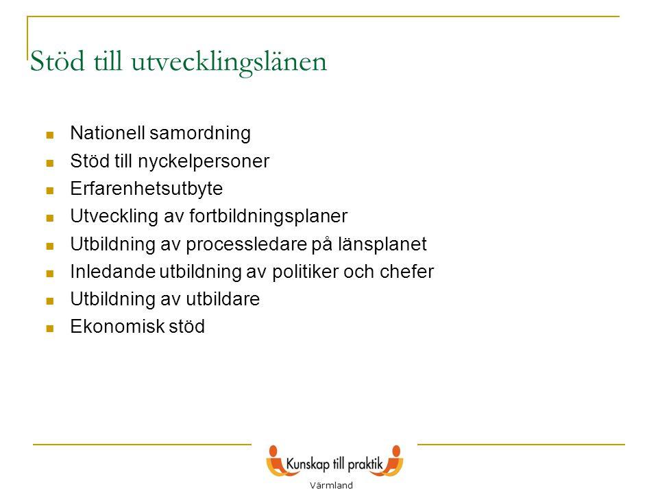 7 Stöd till utvecklingslänen  Nationell samordning  Stöd till nyckelpersoner  Erfarenhetsutbyte  Utveckling av fortbildningsplaner  Utbildning av