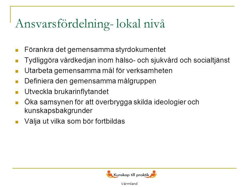 9 Ansvarsfördelning- lokal nivå  Förankra det gemensamma styrdokumentet  Tydliggöra vårdkedjan inom hälso- och sjukvård och socialtjänst  Utarbeta
