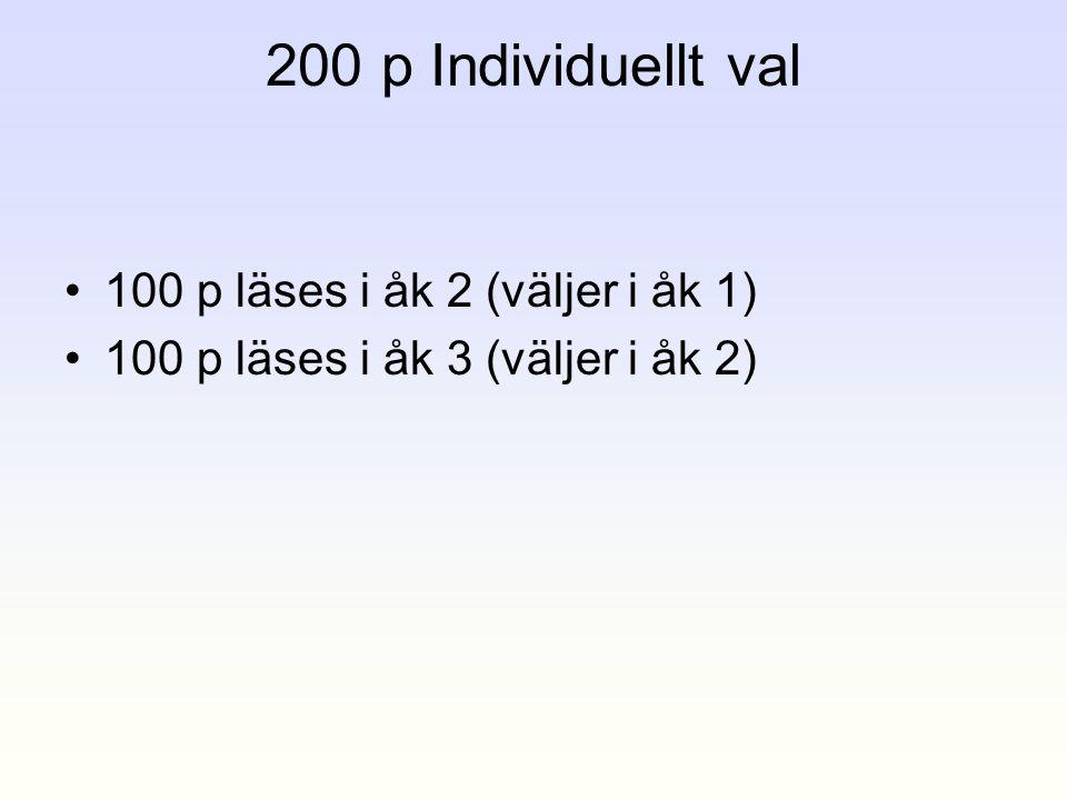 200 p Individuellt val •100 p läses i åk 2 (väljer i åk 1) •100 p läses i åk 3 (väljer i åk 2)