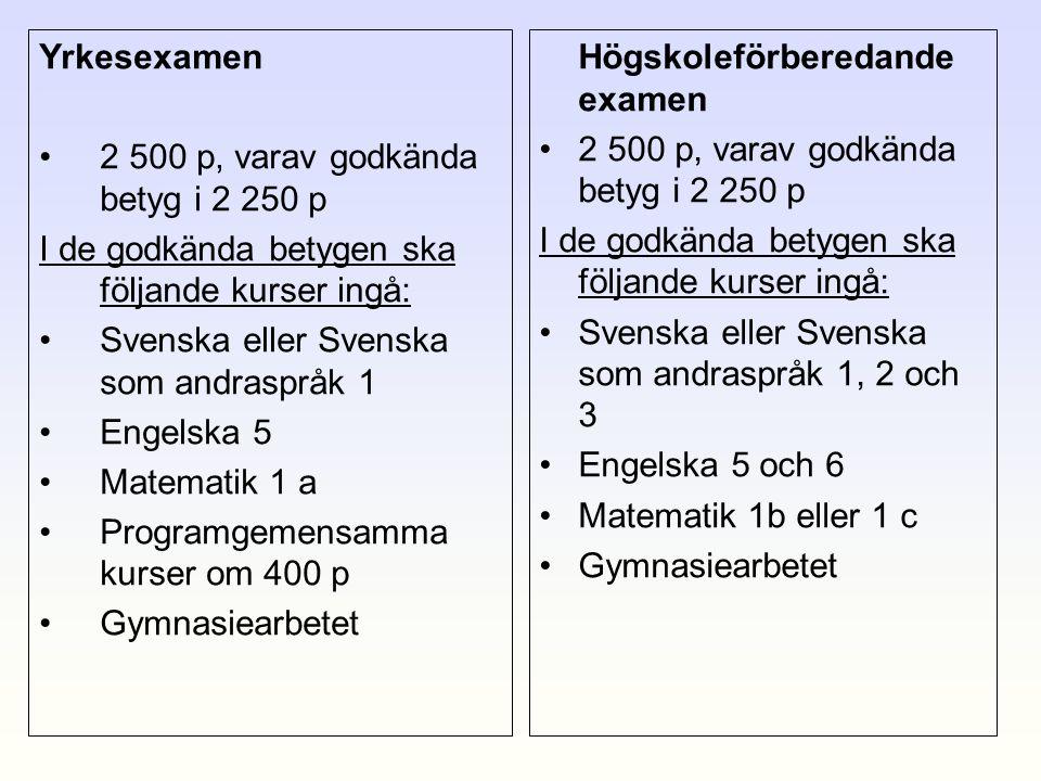 Yrkesexamen •2 500 p, varav godkända betyg i 2 250 p I de godkända betygen ska följande kurser ingå: •Svenska eller Svenska som andraspråk 1 •Engelska