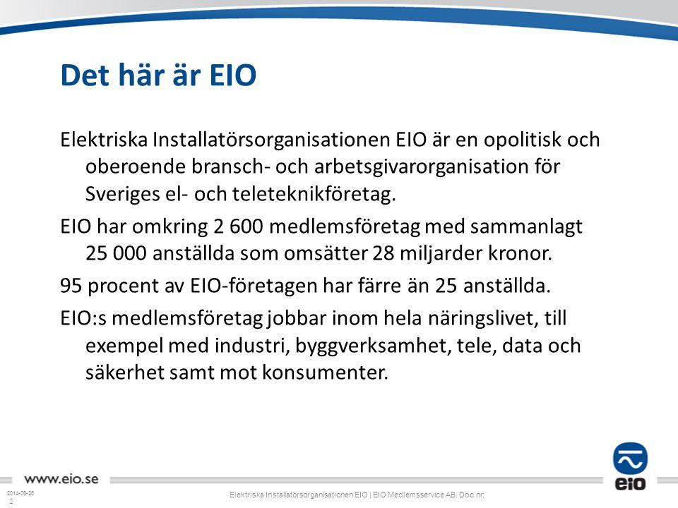 2 Det här är EIO Elektriska Installatörsorganisationen EIO är en opolitisk och oberoende bransch- och arbetsgivarorganisation för Sveriges el- och tel