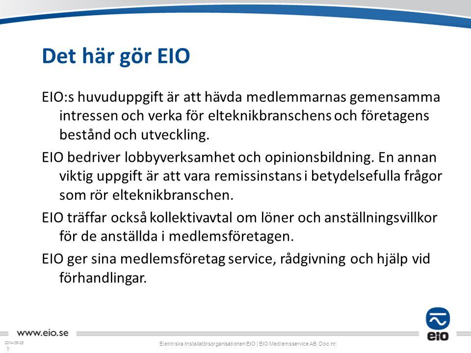 3 Det här gör EIO EIO:s huvuduppgift är att hävda medlemmarnas gemensamma intressen och verka för elteknikbranschens och företagens bestånd och utveck