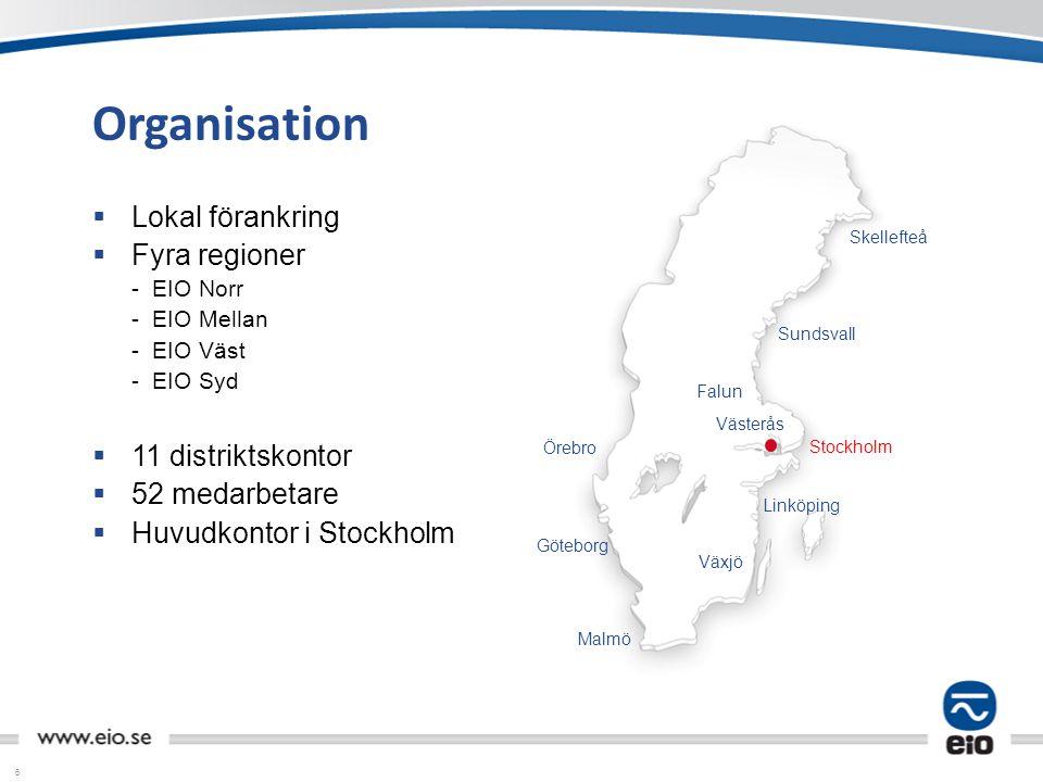 6 Organisation  Lokal förankring  Fyra regioner - EIO Norr - EIO Mellan - EIO Väst - EIO Syd  11 distriktskontor  52 medarbetare  Huvudkontor i S