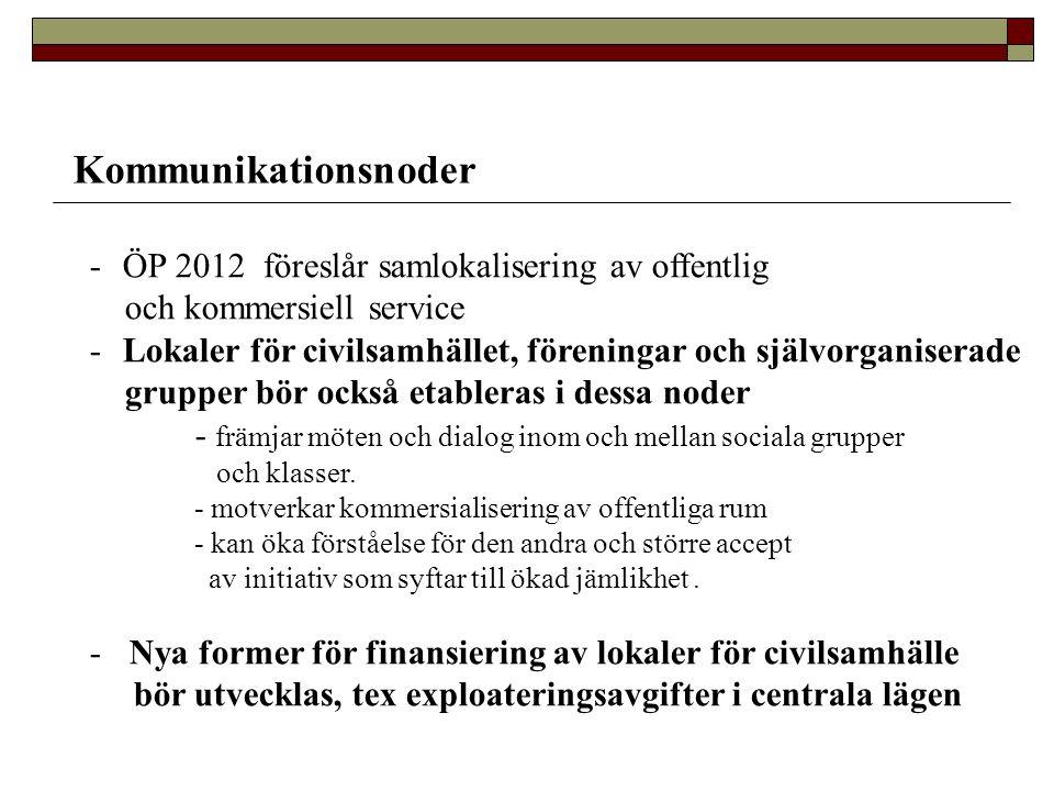 Kommunikationsnoder -ÖP 2012 föreslår samlokalisering av offentlig och kommersiell service -Lokaler för civilsamhället, föreningar och självorganisera