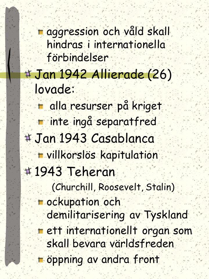 Avgjordes på konferenser som hölls under kriget: Atlantdeklarationen 1941 (Churchill & Roosevelt) självstyre och suveränitet skulle återinföras frihet