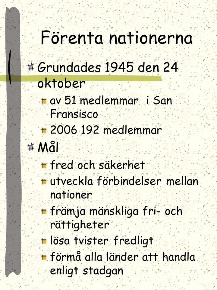 Krigsförbrytarna Nurnbergprocessen 1945- 46 (Sov, USA, Fra, GB) Brottsrubrisering: brott mot freden brott mot mänskligheten krigsförbrytelser Åtalade
