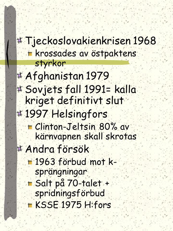 Koreakriget avslutades Österrike skapades Porkkala återgavs till Finl. Ungernupproret 1956 krossades av Sovjets pansar Berlinmuren 1961 Kubakrisen 196