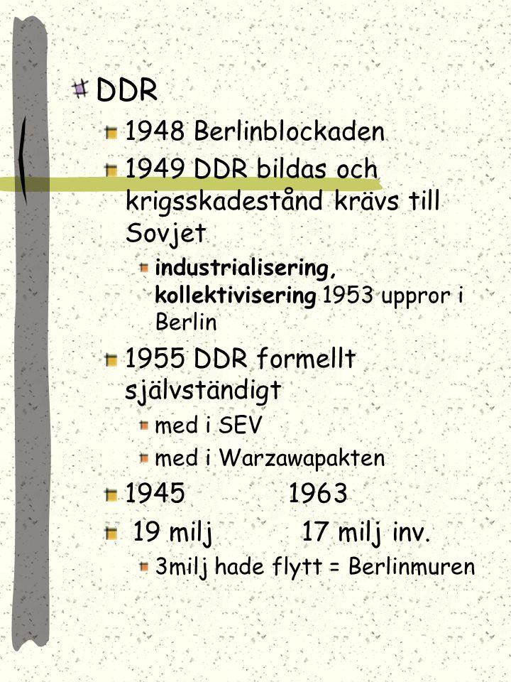 valutareform -48 DMK införs BRD utropas -49 under Adenauer 1950 är produktionen som -38 -58 var produktionen 2 ggr -38 års produktion -55 hävdes ockup