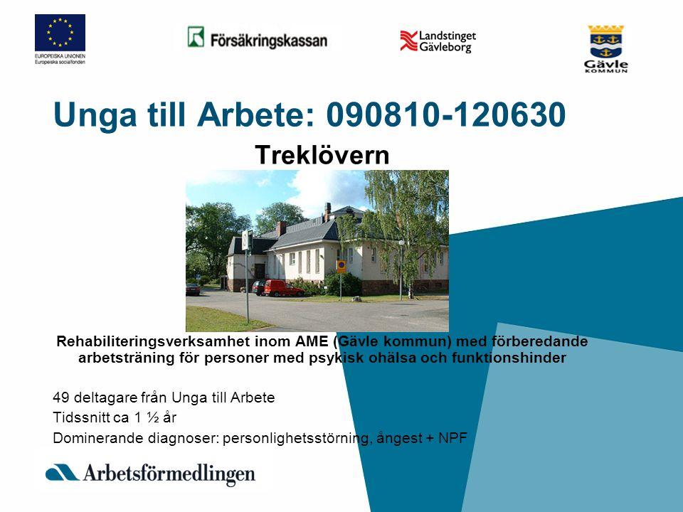 Unga till Arbete: 090810-120630 Treklövern Rehabiliteringsverksamhet inom AME (Gävle kommun) med förberedande arbetsträning för personer med psykisk o