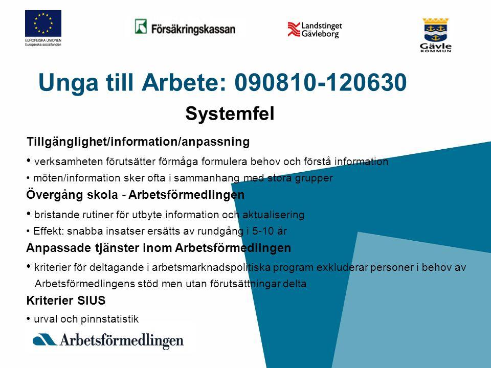 Unga till Arbete: 090810-120630 Systemfel Tillgänglighet/information/anpassning • verksamheten förutsätter förmåga formulera behov och förstå informat