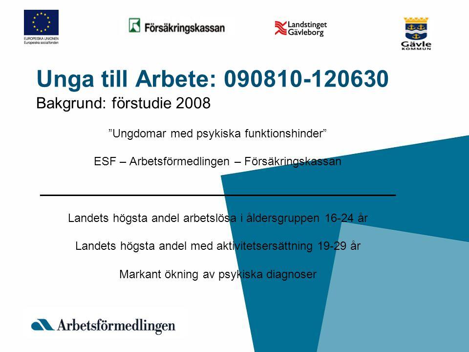 """Unga till Arbete: 090810-120630 Bakgrund: förstudie 2008 """"Ungdomar med psykiska funktionshinder"""" ESF – Arbetsförmedlingen – Försäkringskassan ________"""