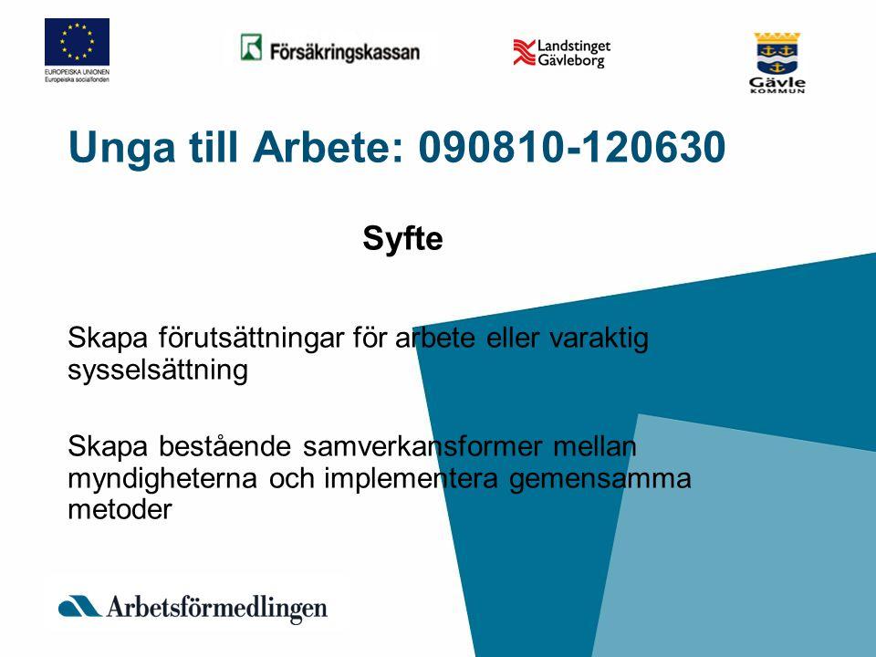 Unga till Arbete: 090810-120630 Syfte Skapa förutsättningar för arbete eller varaktig sysselsättning Skapa bestående samverkansformer mellan myndighet