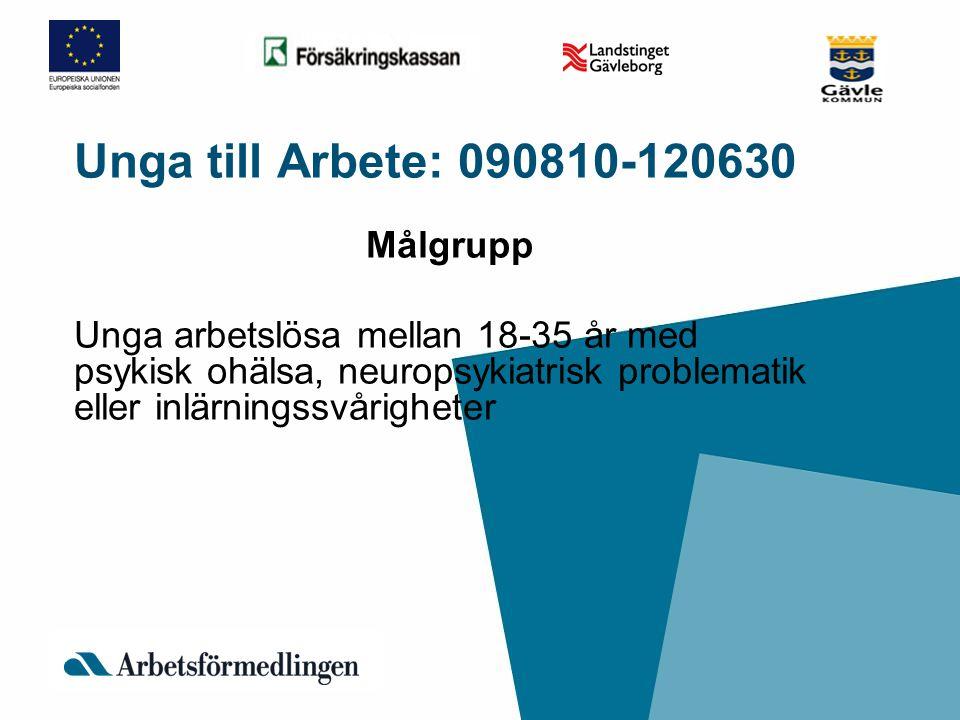 Unga till Arbete: 090810-120630 Målgrupp Unga arbetslösa mellan 18-35 år med psykisk ohälsa, neuropsykiatrisk problematik eller inlärningssvårigheter
