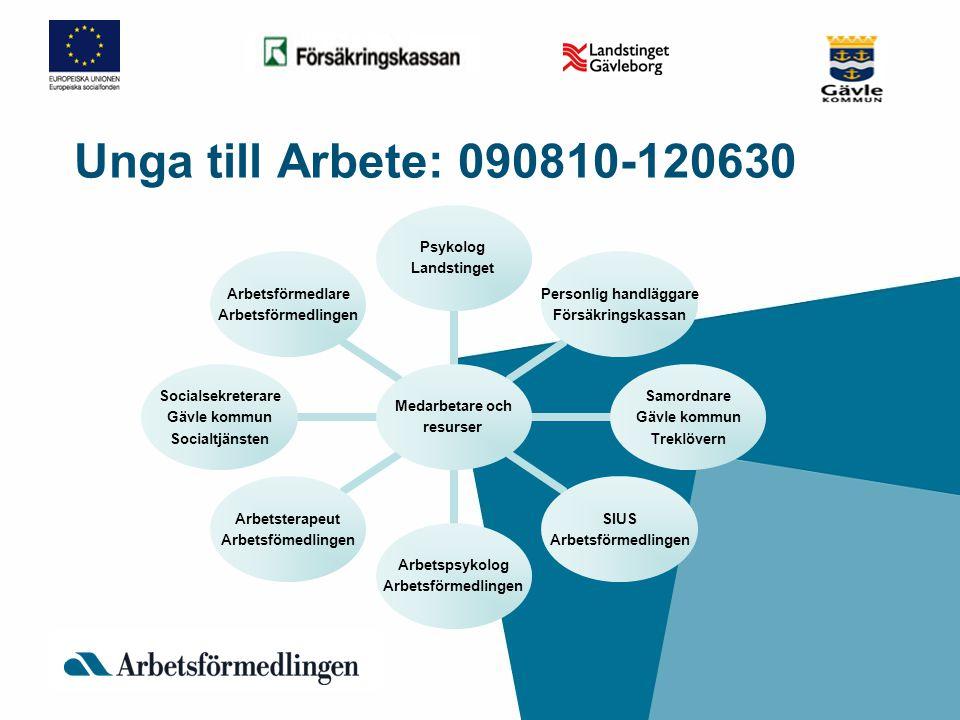 Unga till Arbete: 090810-120630 Medarbetare och resurser Psykolog Landstinget Personlig handlägga re Försäkringskassan Samordnare Gävle kommun Treklöv