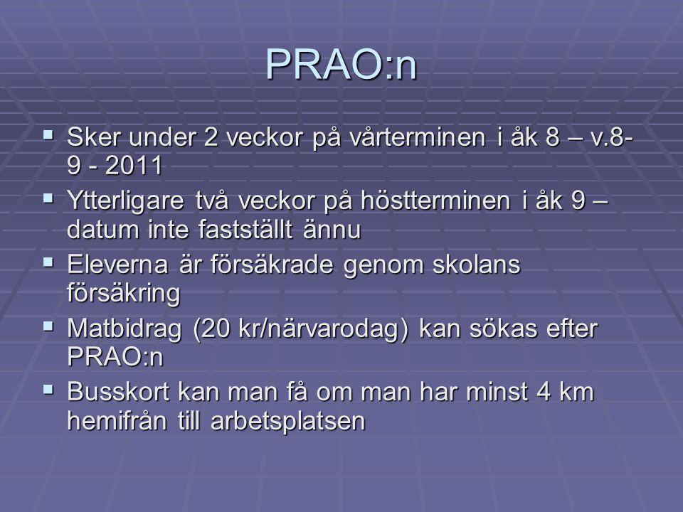 PRAO:n  Sker under 2 veckor på vårterminen i åk 8 – v.8- 9 - 2011  Ytterligare två veckor på höstterminen i åk 9 – datum inte fastställt ännu  Elev