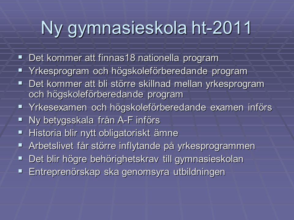Ny gymnasieskola ht-2011  Det kommer att finnas18 nationella program  Yrkesprogram och högskoleförberedande program  Det kommer att bli större skil