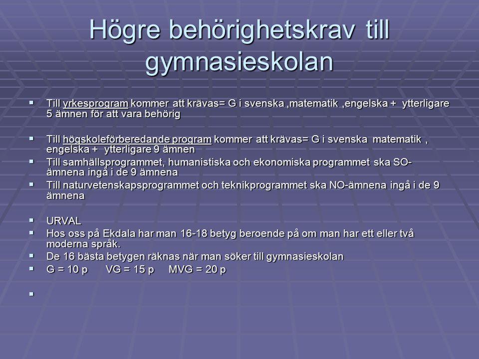 Högre behörighetskrav till gymnasieskolan  Till yrkesprogram kommer att krävas= G i svenska,matematik,engelska + ytterligare 5 ämnen för att vara beh