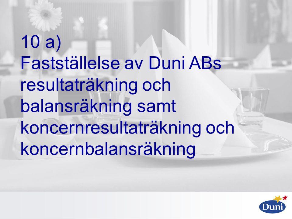 10 a) Fastställelse av Duni ABs resultaträkning och balansräkning samt koncernresultaträkning och koncernbalansräkning