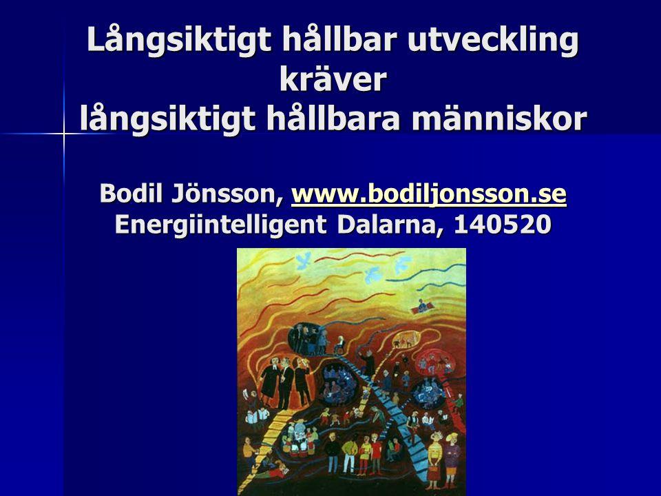 Långsiktigt hållbar utveckling kräver långsiktigt hållbara människor Bodil Jönsson, www.bodiljonsson.se Energiintelligent Dalarna, 140520 Långsiktigt hållbar utveckling kräver långsiktigt hållbara människor Bodil Jönsson, www.bodiljonsson.se Energiintelligent Dalarna, 140520 www.bodiljonsson.se