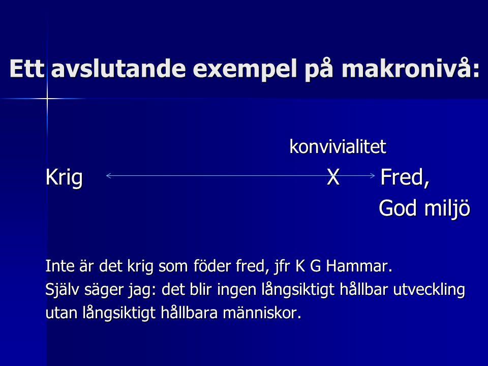 Ett avslutande exempel på makronivå: konvivialitet Krig X Fred, God miljö God miljö Inte är det krig som föder fred, jfr K G Hammar. Själv säger jag: