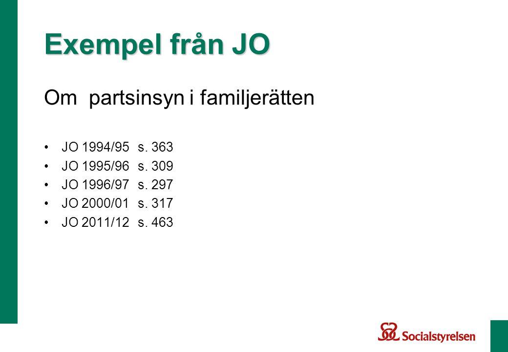 Om partsinsyn i familjerätten •JO 1994/95s. 363 •JO 1995/96s. 309 •JO 1996/97s. 297 •JO 2000/01 s. 317 •JO 2011/12s. 463 Exempel från JO