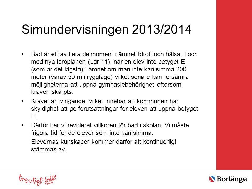 Simundervisningen 2013/2014 •Bad är ett av flera delmoment i ämnet Idrott och hälsa. I och med nya läroplanen (Lgr 11), når en elev inte betyget E (so