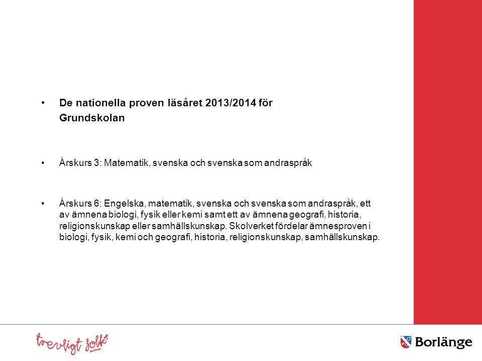•De nationella proven läsåret 2013/2014 för Grundskolan •Årskurs 3: Matematik, svenska och svenska som andraspråk •Årskurs 6: Engelska, matematik, sve
