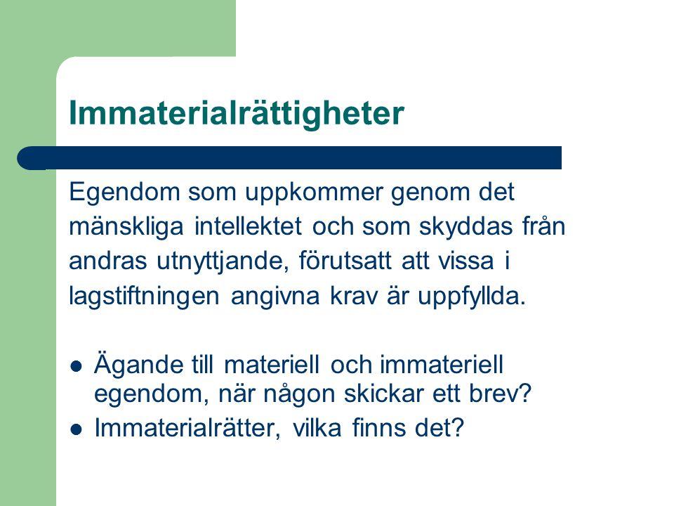 Immaterialrättsliga institutioner  Patentverk (PRV, OHIM, EPO)  Domstolar (nationella, EG-domstolen)