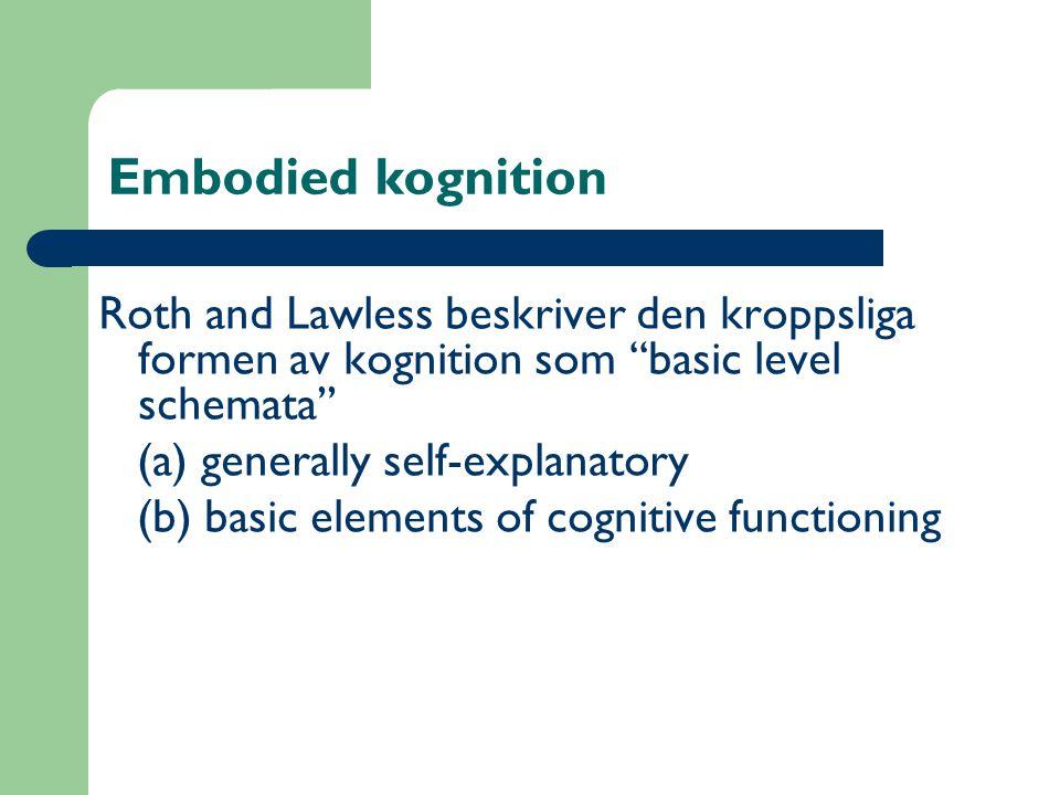 Embodied kognition Roth and Lawless beskriver den kroppsliga formen av kognition som ''basic level schemata'' (a) generally self-explanatory (b) basic