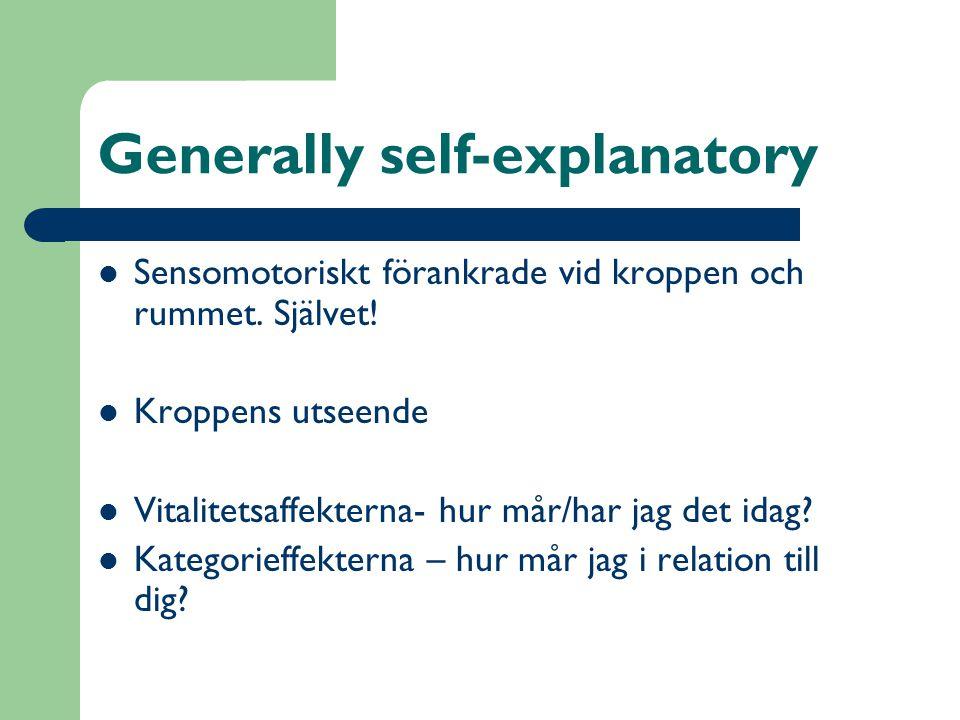 Generally self-explanatory  Sensomotoriskt förankrade vid kroppen och rummet. Självet!  Kroppens utseende  Vitalitetsaffekterna- hur mår/har jag de