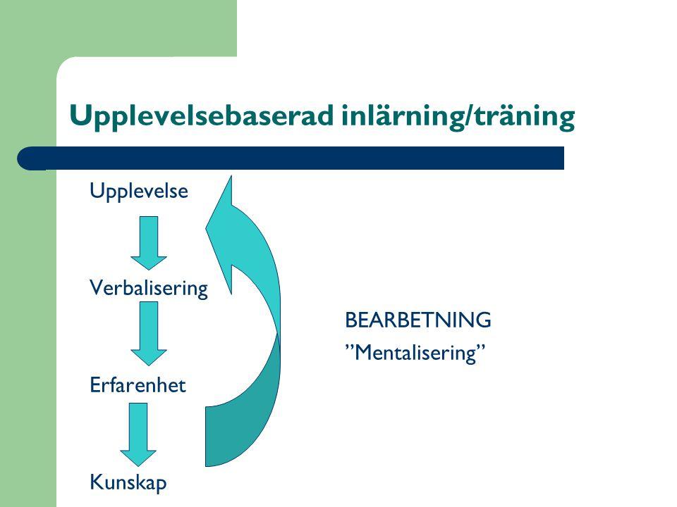 Upplevelsebaserad inlärning/träning Upplevelse Verbalisering BEARBETNING Mentalisering Erfarenhet Kunskap