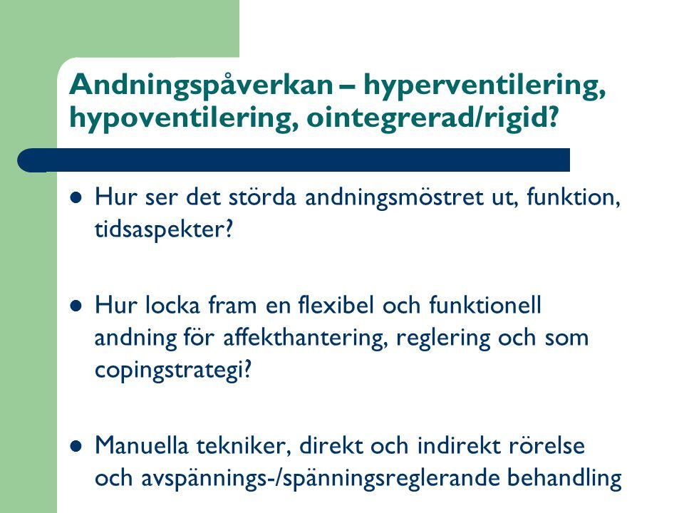 Andningspåverkan – hyperventilering, hypoventilering, ointegrerad/rigid.