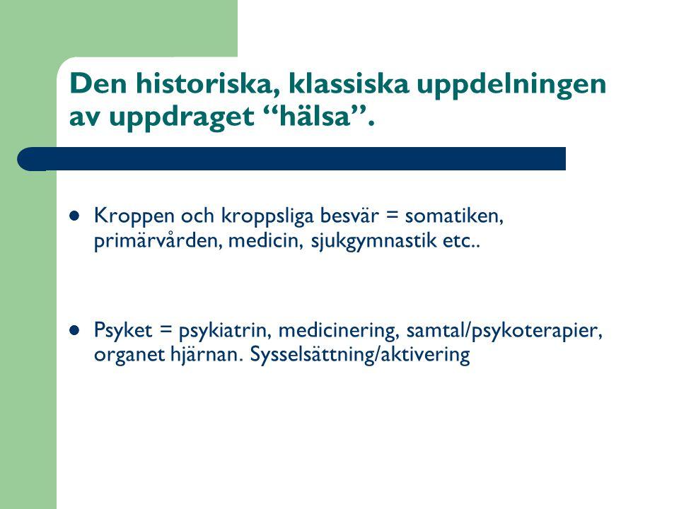 Den historiska, klassiska uppdelningen av uppdraget hälsa .