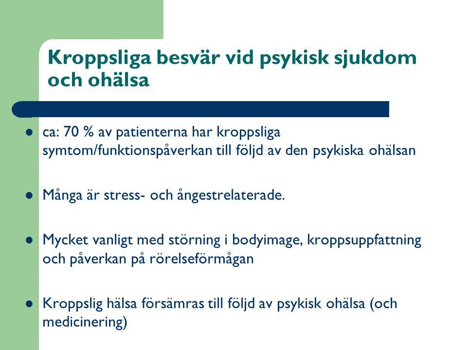 Kroppsliga besvär vid psykisk sjukdom och ohälsa  ca: 70 % av patienterna har kroppsliga symtom/funktionspåverkan till följd av den psykiska ohälsan