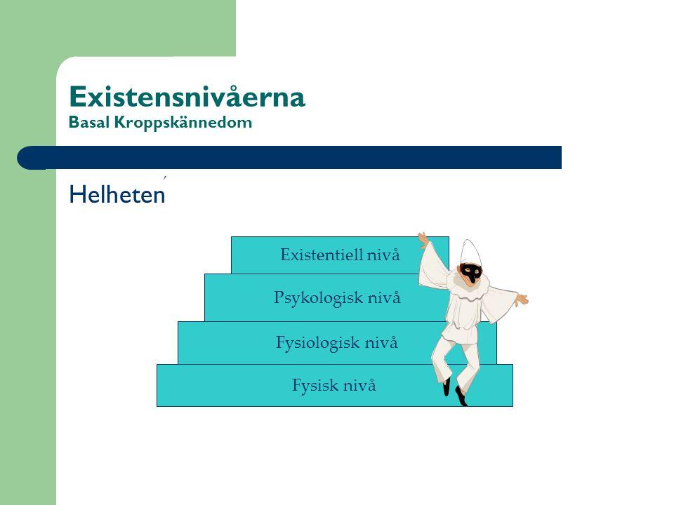 Existensnivåerna Basal Kroppskännedom Helheten Fysisk nivå Fysiologisk nivå Psykologisk nivå Existentiell nivå,