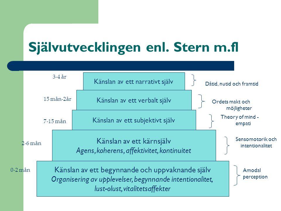Självutvecklingen enl. Stern m.fl Känslan av ett kärnsjälv Agens, koherens, affektivitet, kontinuitet Känslan av ett subjektivt själv Känslan av ett v