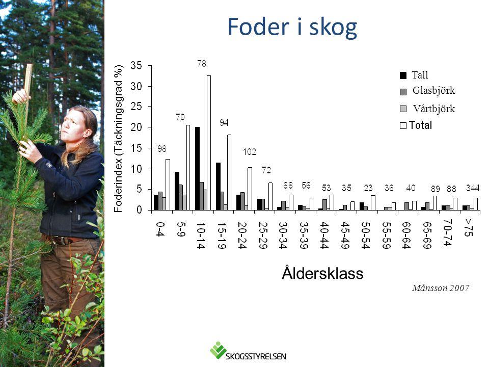Åldersklass Foderindex (Täckningsgrad %) Tall Glasbjörk Vårtbjörk Foder i skog Månsson 2007